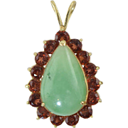 14k Yellow Gold Jade & Garnet Teardrop Pendant 3 grams