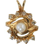 14k Diamond & Cultured Pearl Pendant 3.5 grams