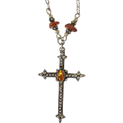 Sterling Silver & Baltic Amber Cross Pendant Necklace