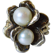 Vintage Uncas Sterling & Cultured Pearl Flower Fashion Designer Ring sz 6.25