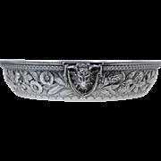 """Rare S. Kirk & Son Sterling Repousse Centerpiece Bowl w/Goat Head Handles 9.5"""" Dia, 637g, 20.48 troy oz"""