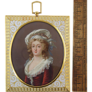 Antique 19th Century Miniature Portrait of Woman in Large 14k Gold Filigree Frame