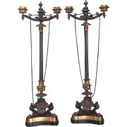 "Antique 21"" French Empire Bronze & Gilt Bronze Candelabra Candlesticks 19th Century"