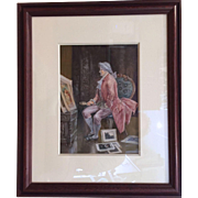 "Vintage Original Watercolor Painting of ""The 18th Century French Art Connoisseur"""