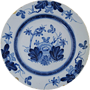 "18th Century English Delft Plate Antique Pottery 8 7/8"" #4"