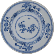"18th Century Dutch Delft Blue & White Plate Antique Pottery 8 7/8"" #5"