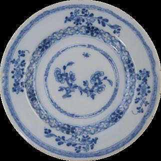 "18th Century Dutch Delft Blue & White Plate Antique Pottery 8 7/8"" #5"