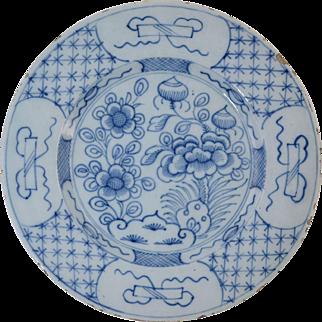 "18th Century Dutch Delft Blue & White Plate Antique Pottery 9 1/4"" #6"