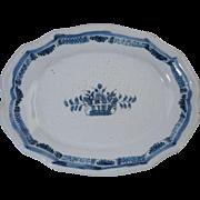 """Antique 19th Century French Blue & White Faience Oval Dish**Rouen Forges Les Eaux """"Cul Noir"""" Black Bottom"""