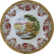 "Antique Wedgwood Polychrome Transfer Creamware Plate ""The Festoon"" Neo-Classical Scene 10"""