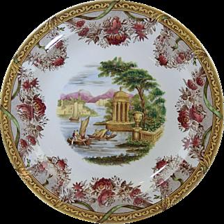 "Antique Wedgwood Polychrome Transfer Creamware Plate ""The Festoon"" Neo-Classical Scene 10"""