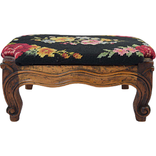 Antique French Provincial Louis XV Style Diminutive Carved Footstool 18th-19thC