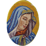 Vintage Needlepoint Petit-point Oval Picture of Mary Catholic Icon