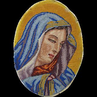Vintage Needlepoint Petit-point Oval Picture of Mary Catholic Icon