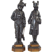 "19th Century French Silvered Bronze Victorian School Children Bad Boy & Girl ""Sale"" & Ane"" Sculptures"