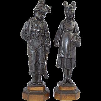 """19th Century French Silvered Bronze Victorian School Children Bad Boy & Girl """"Sale"""" & Ane"""" Sculptures"""