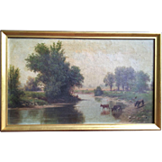 Signed 19th Century Hudson River School Painting w/Cows & Sheep, Minneapolis Minnesota MN