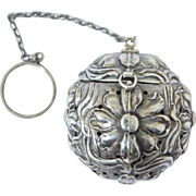 Antique Art Nouveau Sterling Tea Ball Repousse Flowers Webster Silver c1900