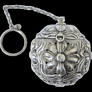 Antique Art Nouveau Sterling Tea Ball Repousse Flowers Webster Silver c1900