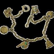 Vintage Portugal 835 Vermeil Silver Filigree Etruscan Enamel Charm Bracelet