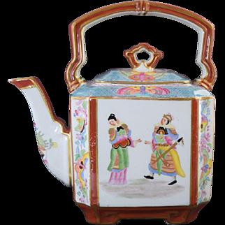 Antique Mason's Ironstone Teapot Oriental Figures Butterflies Puce Mark 19thC