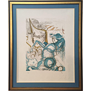 "Original 1965 Salvador Dali ""St. Martin"" Etching & Aquatint #63/175 Arches Paper, London Grafica Label"