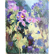 Paul T. Sargent (American 1880-1946) Impressionist Garden Flowers Painting on Board Vivid Gorgeous Colors!
