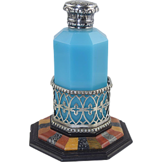 Rare Antique Octagonal Blue Opaline Perfume Bottle with Specimen Stone & Silver Holder/Base