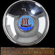 Vintage Ottar Hval Norwegian 830 Silver & Enamel Dish w/Viking Ship Oslo, Norway