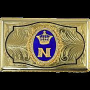 Vintage Naples Gilt Bronze Italian Trinket Snuff Box w/Blue Enamel & Crystals