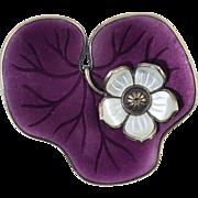 Vintage David Andersen 925 Sterling & Purple Enamel Lily Pad Pin/Brooch Norway