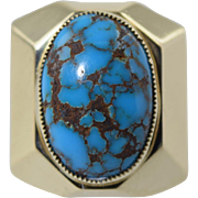 "Vintage 14k Gold & Turquoise ""White Buffalo"" (Mike Perez) Native American Ring 19.7g"