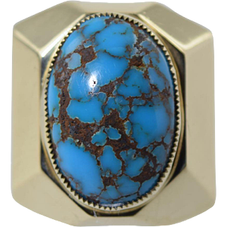 "Vintage 14k Gold & Turquoise ""White Buffalo"" (Mike Perez) Native American Ring 19.7g"