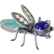 Herbert Ration Sterling Silver Bug/Fly/Insect Pin Lapis & Turquoise Navajo Artist