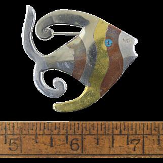 Vintage Mexican Metales Casados Sterling & Mixed Metal Angel Fish Pin