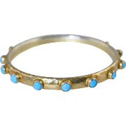 Turquoise & Hammered Gold over Sterling Bangle Bracelet Hand Made 925 Silver