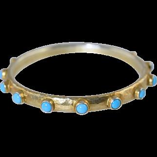 Turquoise & Hammered Gold over Sterling Bangle Bracelet Hand Made 925 Silver