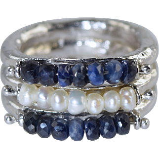 Unique Sterling Silver Sapphire Bead & Pearl 3 Band Textured Silver Ring sz 7