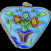 Vintage Chinese Silver & Enamel Pill Box Pendant w/Flowers