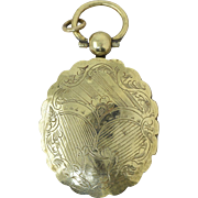 Victorian Engraved Brass Locket Pendant w/Photo Antique
