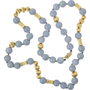 "Vintage Blue Jade & 14K Gold 9mm Bead 22"" Necklace 54.6g"