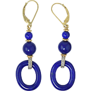 "14k Yellow Gold Lapis Diamond Dangle Earrings 1 7/8"""