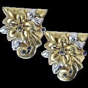 Vintage 1930s-40s Retro Art Deco Two Tone Dress Clips Flowers w/Blue Rhinestones