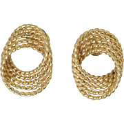 Vintage 14k Yellow Gold Rope Knot Pierced Earrings