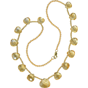 Lovely Citrine Gemstone & 14K Yellow Gold Bead Necklace 16.5""