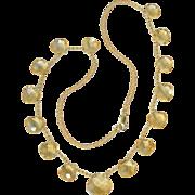 "Lovely Citrine Gemstone & 14K Yellow Gold Bead Necklace 16.5"""