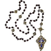 Large 19thC Silver Filigree & Garnet Rosary Enamel Cross German/Bavarian Antique