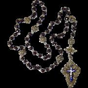 Large 19thC Silver Filigree & Garnet Rosary Enamel Cross German/Bavarian Antique