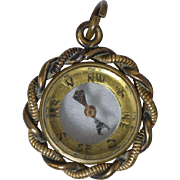 Victorian Compass Fob/Charm/Pendant Gold Plated Brass 19th Century
