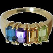 14K Rainbow Gemstone Ring Peridot Citrine Amethyst Blue Topaz size 7.25
